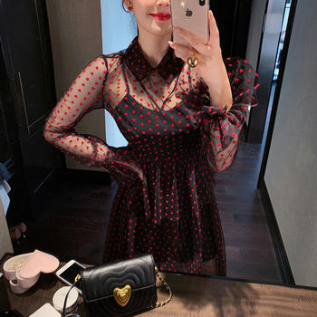 余潇潇网纱植绒绑带?#24895;?#36830;衣裙