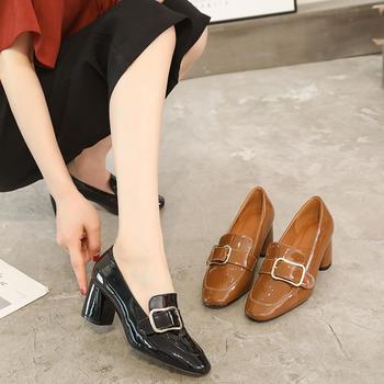 奥古女鞋夏季PU休闲方头单鞋短靴百搭粗跟高跟鞋