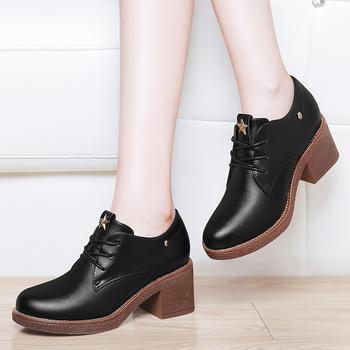 新款鞋子中跟粗跟单鞋韩版百搭鞋