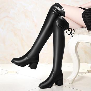 女冬季新款高跟皮靴百搭过膝长靴