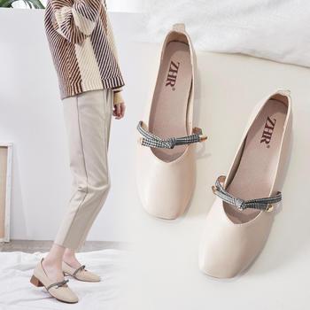 ZHR新款玛丽珍鞋复古单鞋奶奶鞋春季白领上班浅口单鞋
