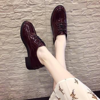 慕沫2019春款单鞋英伦风小皮鞋女