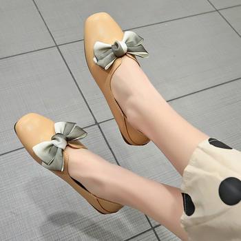 Tatyana2019春季新款纯色套脚方头蝴蝶结浅口平底单鞋