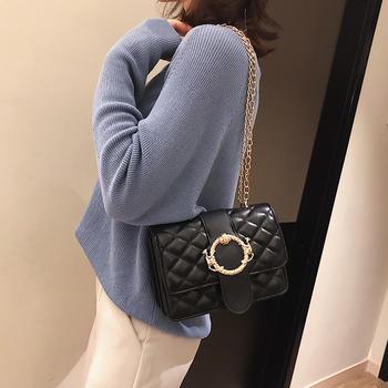 雅诗罗时尚菱格女包锁扣单肩包包