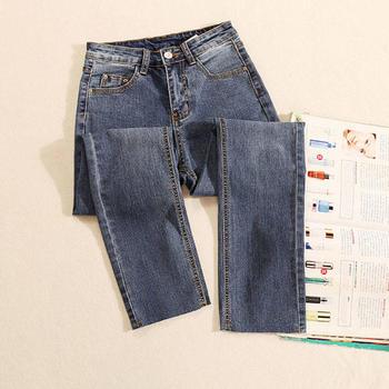 KDN 元素风时尚新款高腰宽松牛仔裤韩版直筒微喇叭