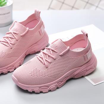 承发 春季透气飞织女鞋网布潮流小白鞋厚底运动鞋