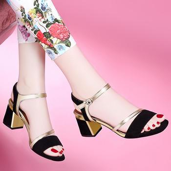 高跟凉鞋新韩版百搭露趾粗跟女鞋