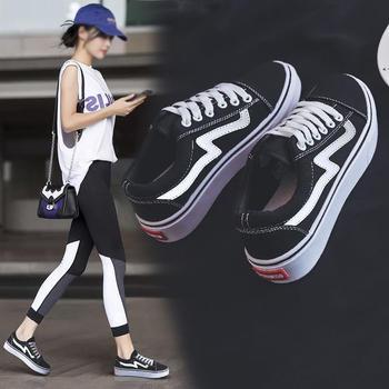 CONGC女2019春季韩版百搭网红帆布鞋新款休闲平底小白鞋