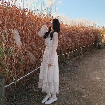 KDN2019新款超仙气质打底蕾丝连衣裙温柔风网纱连衣裙