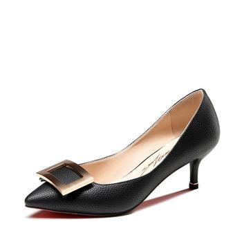 卓诗尼单鞋春季新款浅口鞋细高跟尖头通勤低帮鞋
