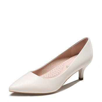 卓诗尼年春季新款尖头中跟单鞋浅口细跟纯色女鞋