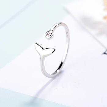 甜美镶钻人鱼戒指开口戒指时尚气质百搭