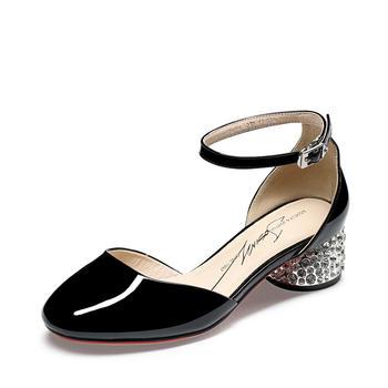 卓诗尼春季新款淑女甜美单鞋一?#36136;娇?#24102;粗中跟女鞋