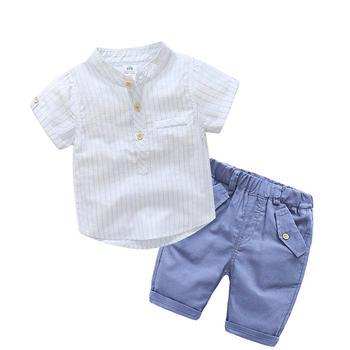 貝殼元素寶寶夏裝男童豎條套裝tz3891