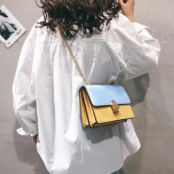 天彩翼飞2019新款个性撞色女包小方包单肩斜跨小包包