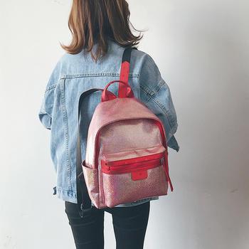 天彩翼飞2019新款学院风双肩背包女包亮面大容量包包