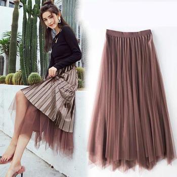 XYMZ女网纱丝绒两面穿不规则半身裙高腰百褶裙长裙