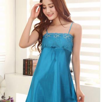 颖贝尔性感抹胸睡裙纯色蕾丝吊带睡衣