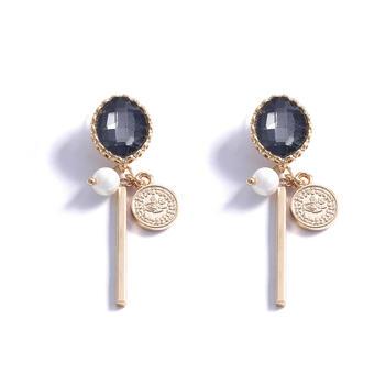 CROCUS時尚個性復古幾何百搭金幣設計白領女士耳釘 52216