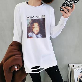 美丽后2019春秋新款韩版圆领白色下摆破洞长袖t恤