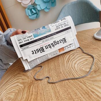 INME港风小众报纸包包个性链条包上新ins超火小包