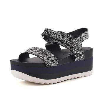 珂卡芙夏季新款舒适防水台坡跟露趾罗马女凉鞋