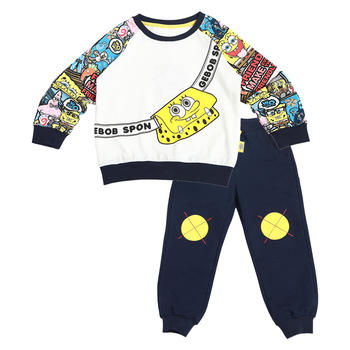海绵宝宝 儿童中性针织长袖两件套 春秋款卫衣套装