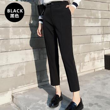 纯诗曼西装裤直筒黑色高腰韩版学生烟管九分裤