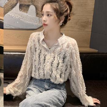 XYMZ 2019春季新款镂空蕾丝心机衬衫女很仙的洋气上衣