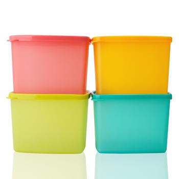 特百惠保鲜盒冷藏保鲜方盒套装糖果色800ml