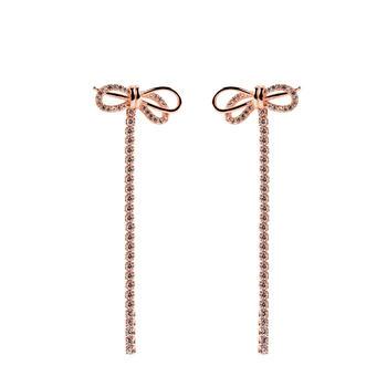 精致925银锆石蝴蝶结耳坠 长款耳线女士耳环