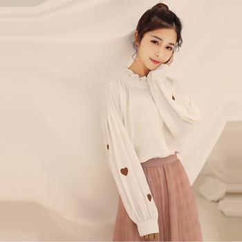 L'BON2019春季韩版学生宽松大码上衣开衫立领心型绣花