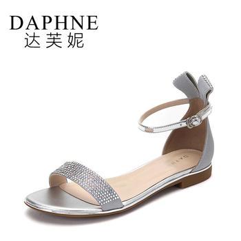 Daphne/达芙妮夏季新款水钻绕踝扣带平底凉鞋1017303028