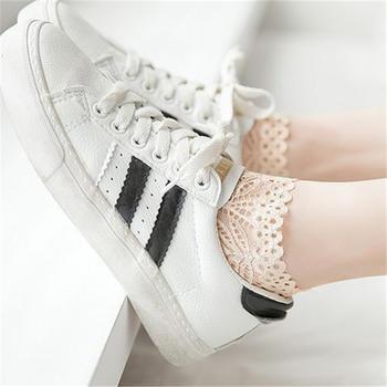 GREAT 3双装 蕾丝网眼女士船袜小白鞋搭配袜子