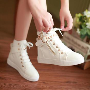 奥古学生高帮帆布鞋女鞋韩版休闲高帮鞋白色布鞋女板