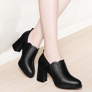 高跟鞋春季时尚新品圆头粗跟女鞋