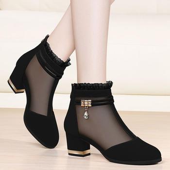 女春季新款韩版百搭高帮粗跟单鞋