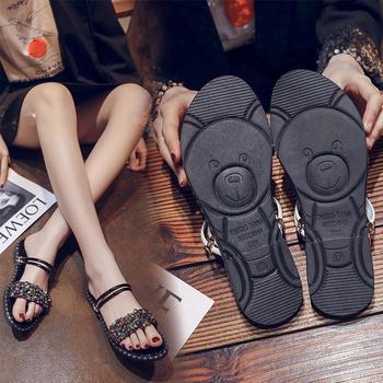 Tatyana超火网红小熊鞋女鞋时尚两穿露趾亮片平底凉鞋
