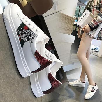 安欣娅韩版交叉系带休闲女鞋拼色小白鞋