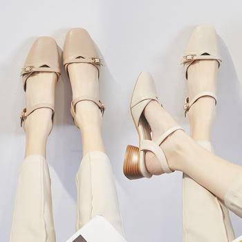 ZHR夏新款包头复古玛丽珍方头凉鞋温柔鞋仙女中跟女鞋