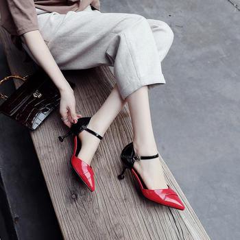慕沫女鞋夏季凉鞋新款细跟高跟鞋真皮包头罗马鞋尖头