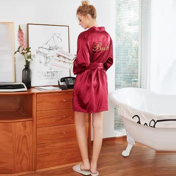 酷诺真丝睡袍结婚化妆袍刺绣Bride薄款开衫袍