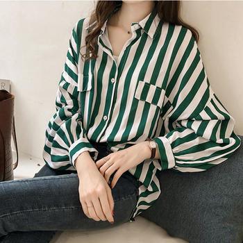 HYLS 港味宽松长袖单排扣大码bf条纹衬衫