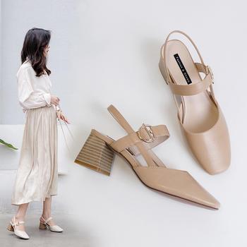 慕沫夏季新款凉鞋学生?#25351;?#21253;头罗马鞋一字扣带高跟鞋