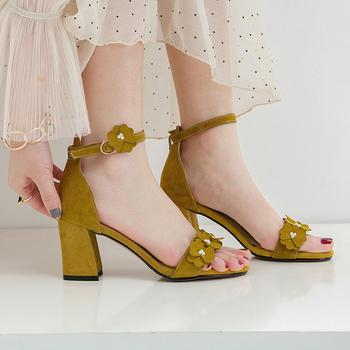 慕沫凉鞋女夏季新款?#25351;?#20185;女鞋一字扣带露趾罗马鞋妇