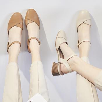 ZHR夏季新款复古仙女凉鞋韩版单鞋百搭中跟奶奶鞋