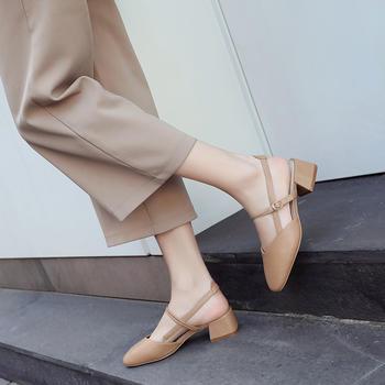 ZHR夏季新款仙女风穆勒鞋包头凉鞋复古一字扣玛丽珍鞋