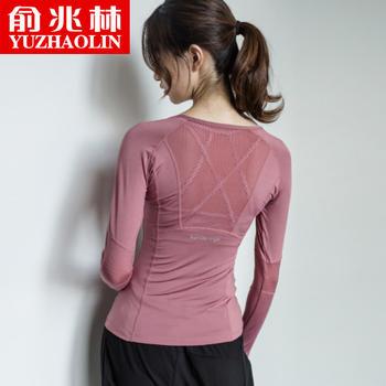 俞兆林健身服女长袖运动上衣跑步速干t恤紧身性感