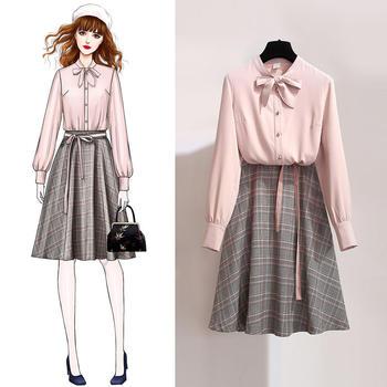 KDN2019新款韓版領結時尚半身裙套裝顯瘦兩件套