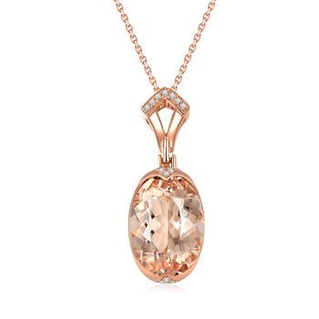 今上珠宝18K金钻石吊坠女摩根石项链群镶闪耀钻石吊坠